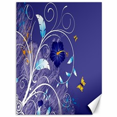 Flowers Butterflies Patterns Lines Purple Canvas 36  x 48