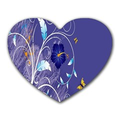 Flowers Butterflies Patterns Lines Purple Heart Mousepads