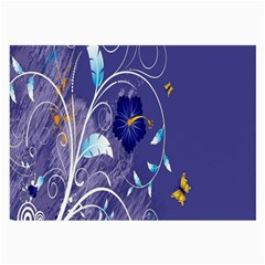 Flowers Butterflies Patterns Lines Purple Large Glasses Cloth (2-Side)