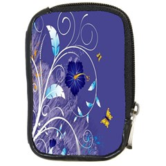 Flowers Butterflies Patterns Lines Purple Compact Camera Cases