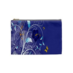 Flowers Butterflies Patterns Lines Purple Cosmetic Bag (Medium)
