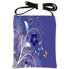 Flowers Butterflies Patterns Lines Purple Shoulder Sling Bags