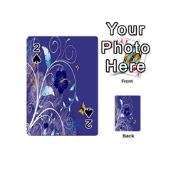 Flowers Butterflies Patterns Lines Purple Playing Cards 54 (Mini)