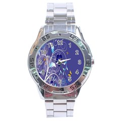 Flowers Butterflies Patterns Lines Purple Stainless Steel Analogue Watch