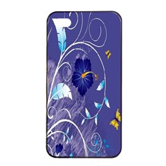 Flowers Butterflies Patterns Lines Purple Apple iPhone 4/4s Seamless Case (Black)