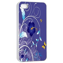 Flowers Butterflies Patterns Lines Purple Apple iPhone 4/4s Seamless Case (White)
