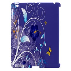 Flowers Butterflies Patterns Lines Purple Apple iPad 3/4 Hardshell Case (Compatible with Smart Cover)