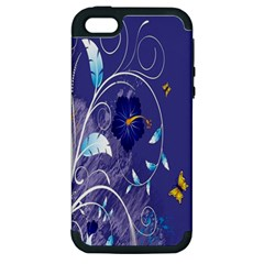 Flowers Butterflies Patterns Lines Purple Apple iPhone 5 Hardshell Case (PC+Silicone)