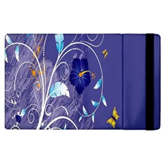 Flowers Butterflies Patterns Lines Purple Apple iPad 2 Flip Case