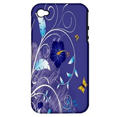 Flowers Butterflies Patterns Lines Purple Apple iPhone 4/4S Hardshell Case (PC+Silicone)