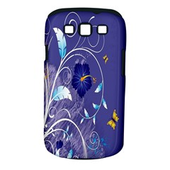 Flowers Butterflies Patterns Lines Purple Samsung Galaxy S III Classic Hardshell Case (PC+Silicone)