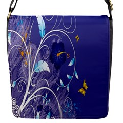Flowers Butterflies Patterns Lines Purple Flap Messenger Bag (S)