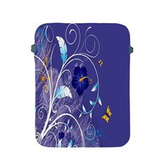 Flowers Butterflies Patterns Lines Purple Apple iPad 2/3/4 Protective Soft Cases