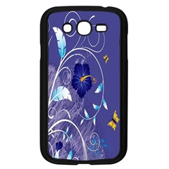 Flowers Butterflies Patterns Lines Purple Samsung Galaxy Grand DUOS I9082 Case (Black)