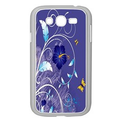 Flowers Butterflies Patterns Lines Purple Samsung Galaxy Grand DUOS I9082 Case (White)