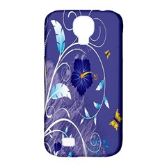 Flowers Butterflies Patterns Lines Purple Samsung Galaxy S4 Classic Hardshell Case (PC+Silicone)