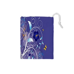 Flowers Butterflies Patterns Lines Purple Drawstring Pouches (Small)