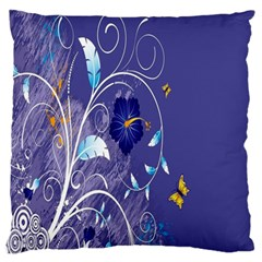 Flowers Butterflies Patterns Lines Purple Standard Flano Cushion Case (Two Sides)