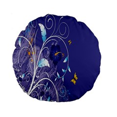 Flowers Butterflies Patterns Lines Purple Standard 15  Premium Flano Round Cushions