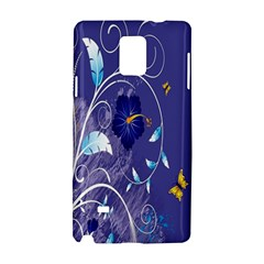 Flowers Butterflies Patterns Lines Purple Samsung Galaxy Note 4 Hardshell Case