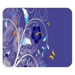 Flowers Butterflies Patterns Lines Purple Double Sided Flano Blanket (Small)