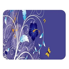 Flowers Butterflies Patterns Lines Purple Double Sided Flano Blanket (Large)