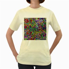Colorful Abstract Paint Rainbow Women s Yellow T-Shirt
