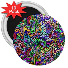 Colorful Abstract Paint Rainbow 3  Magnets (10 pack)