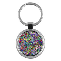 Colorful Abstract Paint Rainbow Key Chains (Round)