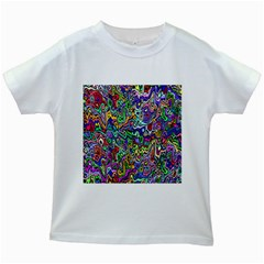 Colorful Abstract Paint Rainbow Kids White T-Shirts
