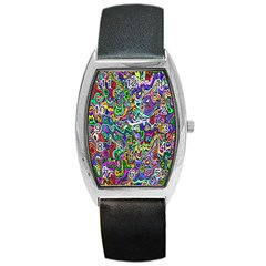 Colorful Abstract Paint Rainbow Barrel Style Metal Watch