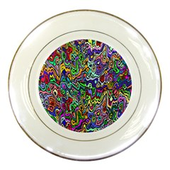 Colorful Abstract Paint Rainbow Porcelain Plates