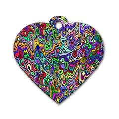Colorful Abstract Paint Rainbow Dog Tag Heart (Two Sides)
