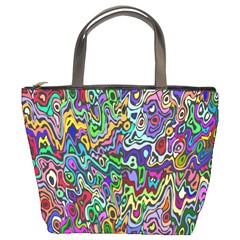 Colorful Abstract Paint Rainbow Bucket Bags