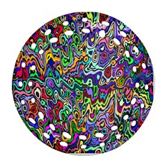 Colorful Abstract Paint Rainbow Round Filigree Ornament (Two Sides)