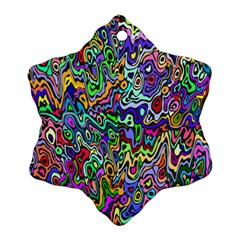 Colorful Abstract Paint Rainbow Snowflake Ornament (Two Sides)