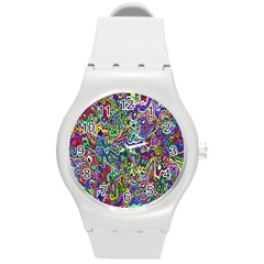 Colorful Abstract Paint Rainbow Round Plastic Sport Watch (M)