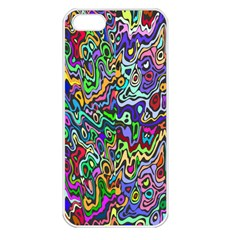 Colorful Abstract Paint Rainbow Apple iPhone 5 Seamless Case (White)