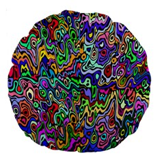 Colorful Abstract Paint Rainbow Large 18  Premium Round Cushions