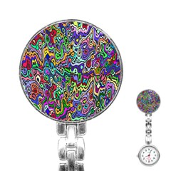 Colorful Abstract Paint Rainbow Stainless Steel Nurses Watch