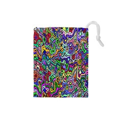 Colorful Abstract Paint Rainbow Drawstring Pouches (Small)