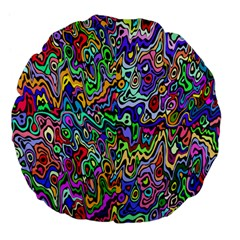 Colorful Abstract Paint Rainbow Large 18  Premium Flano Round Cushions