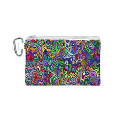 Colorful Abstract Paint Rainbow Canvas Cosmetic Bag (S)