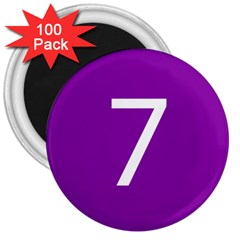 Number 7 Purple 3  Magnets (100 pack)