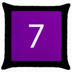 Number 7 Purple Throw Pillow Case (Black)