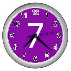 Number 7 Purple Wall Clocks (Silver)