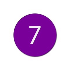Number 7 Purple Rubber Round Coaster (4 pack)