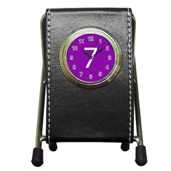 Number 7 Purple Pen Holder Desk Clocks