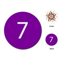 Number 7 Purple Playing Cards (Round)