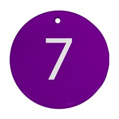 Number 7 Purple Round Ornament (Two Sides)